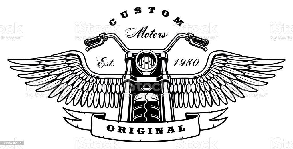 Moto vintage com asas em fundo branco - ilustração de arte em vetor