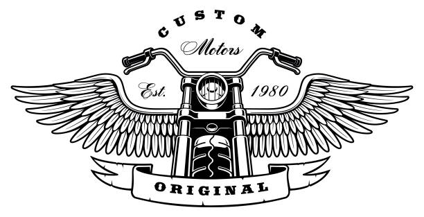 vintage motorcycle with wings on white background - motorcycle stock illustrations, clip art, cartoons, & icons