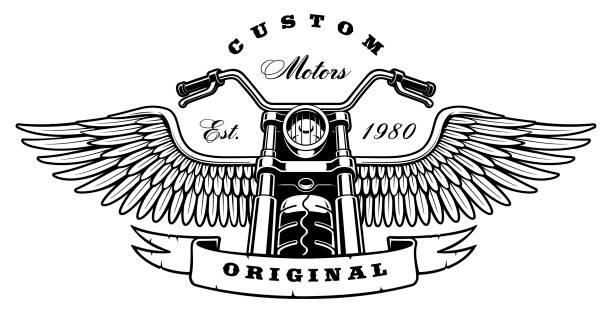 Motocicleta vintage con alas sobre fondo blanco - ilustración de arte vectorial