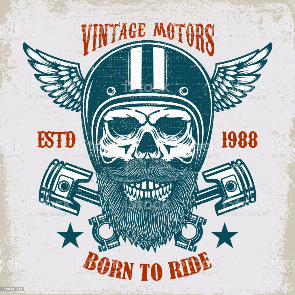 Ilustración de Motores Antiguos Paseo En Duro Cráneo De Racer ...