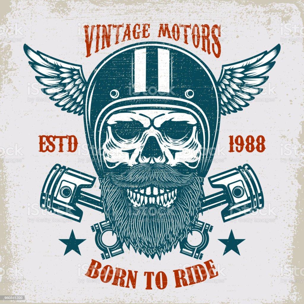 Vintage motors. Ride hard. Vintage racer skull in winged helmet illustration on grunge background. Design element for poster, emblem, sign, t shirt. vector art illustration