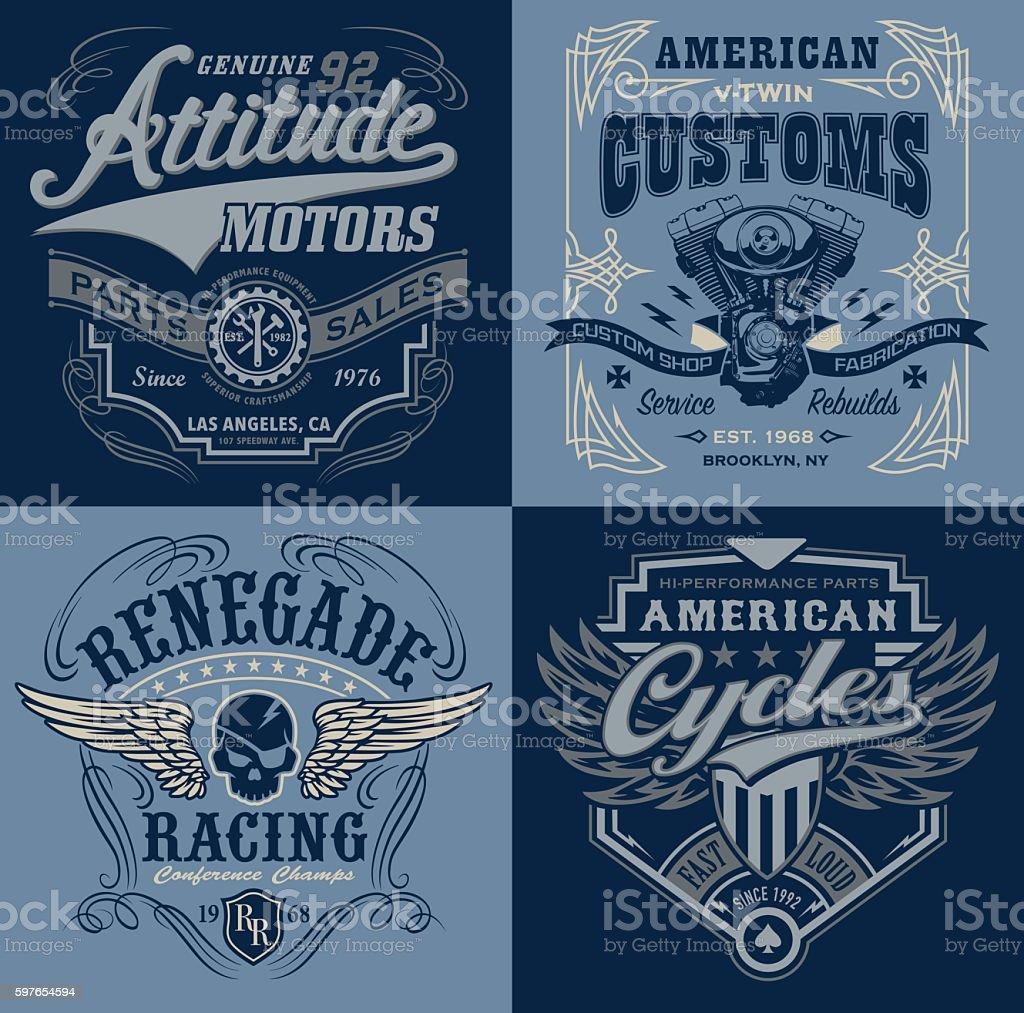 Vintage motorsport emblem graphic set - ilustración de arte vectorial