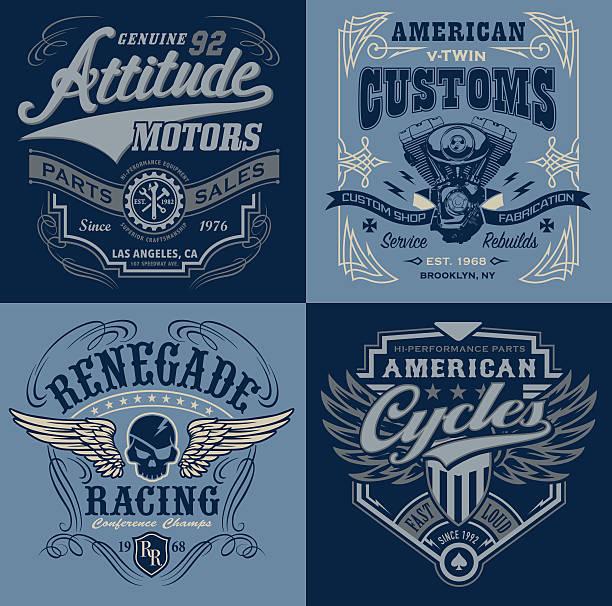 illustrations, cliparts, dessins animés et icônes de vintage motorsport emblem graphic set - moto sport