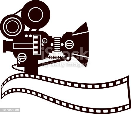 Vector illustration of a Vintage Movie Camera Clip Art with a Camera Film with copy space for your text communication