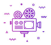 Vintage Movie Camera Line Style Icon Design