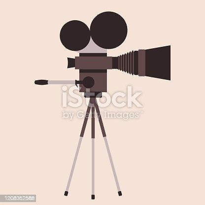 Old movie camera icon. Retro cinema. Movie industry concept. Vector illustration, flat style.