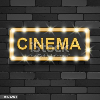 Vintage movie, cinematography and theater poster. Welcome neon retro 3d classic film posters board gold text in 3d on black background realistic vector EPS 10 illustration