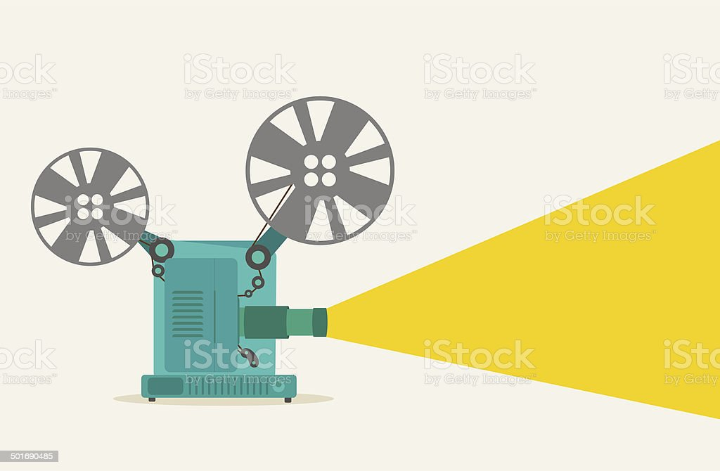 vintage movie projector vector art illustration