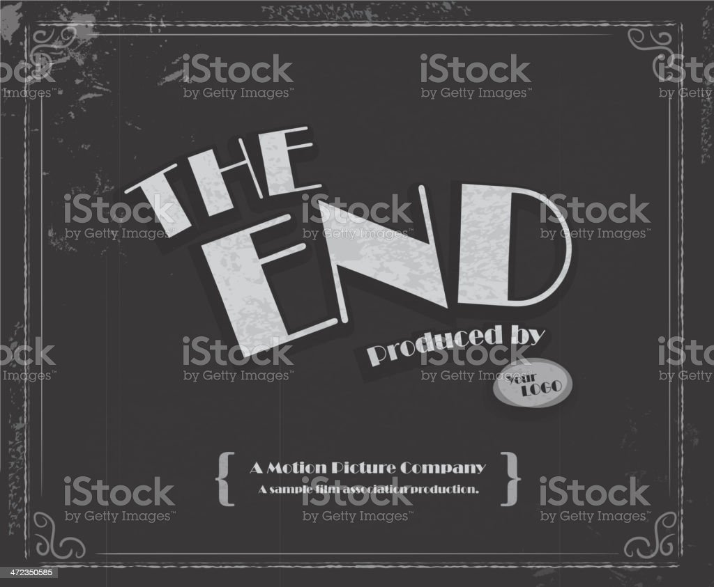 vintage movie the end screen design template stock vector art more