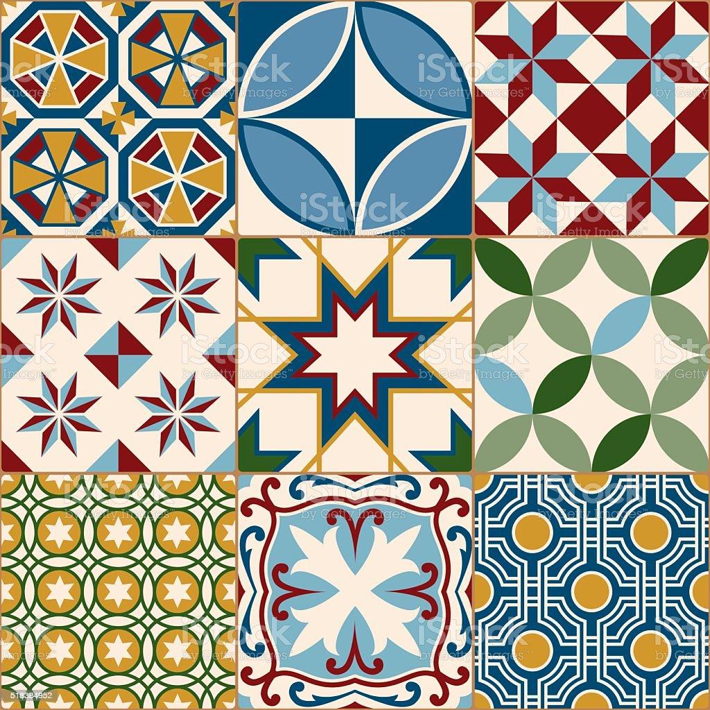 Vintage multicolor mosaico patr n continuo losa de porcelana arte vectorial de stock y m s - Piastrelle tipo mosaico ...