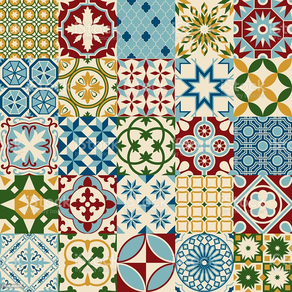 Vintage Multicolored Mosaic Porcelain Tiles Seamless Pattern vector art illustration