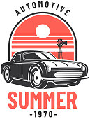 Vintage style muscle car summer car badge