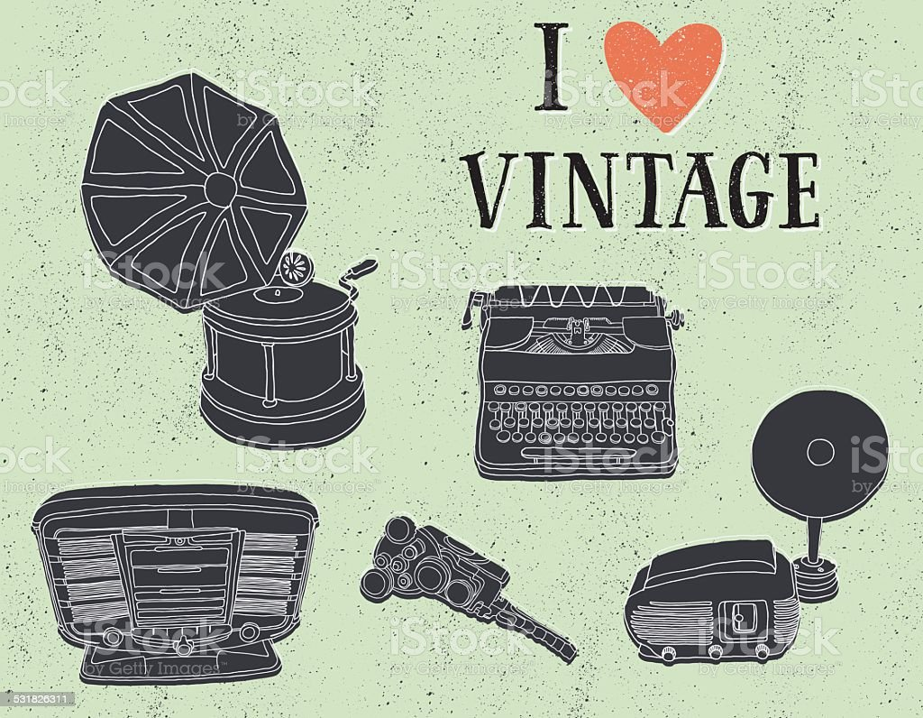 Grunge Camera Vector : Vintage music and photography equipment on grunge background stock
