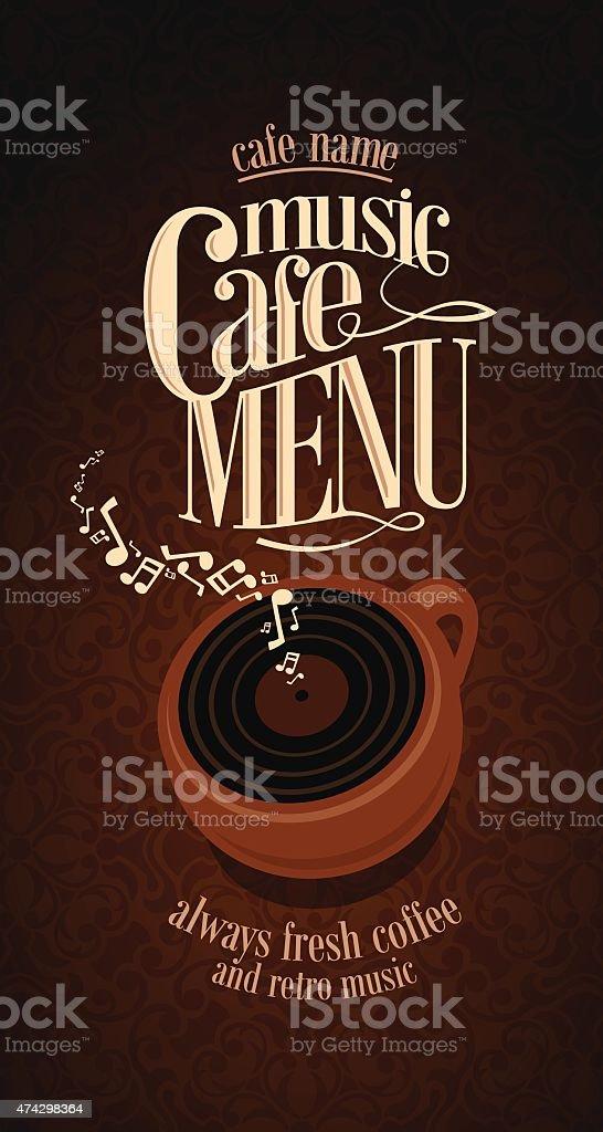 Vintage Music Cafe Menu card vector art illustration