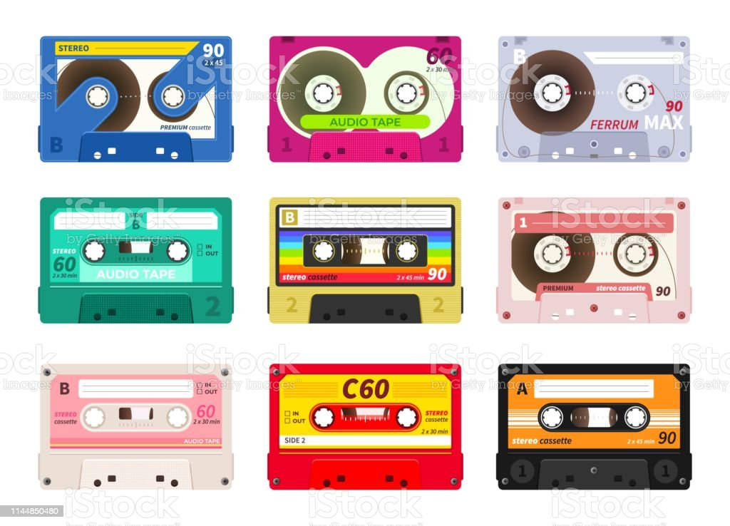 Vintage music cassettes. Retro dj sound tape, 1980s rave party stereo mix, old school record technology. Vector old 90s cassettes set - Royalty-free 1970-1979 arte vetorial