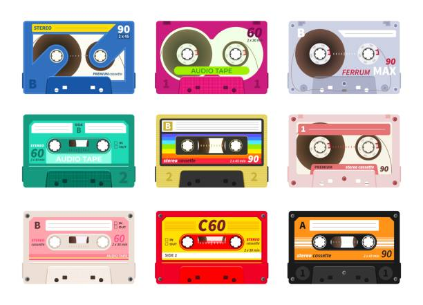 vintage music cassettes. retro dj sound tape, 1980s rave party stereo mix, old school record technology. vector old 90s cassettes set - record analog audio stock illustrations