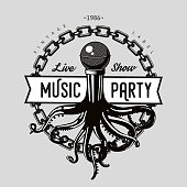 Vintage music emblem. Octopus tentacles and vinyl record. Night party retro sign. Dance festival template.