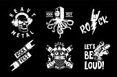 Vintage music emblem. Tattoo style illustration pack for rock and rap music. Heavy metal and hip-hop style. Retro design vector icons.