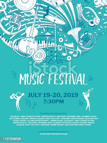 Vintage music festival vector poster template. Woodwind orchestra performance brochure. Sax and trumpet players and musical instruments illustration. Blues band live show, cultural event flyer