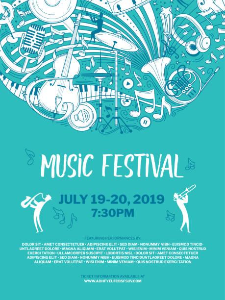 bildbanksillustrationer, clip art samt tecknat material och ikoner med vintage musik festival vektor affisch mall - orkester