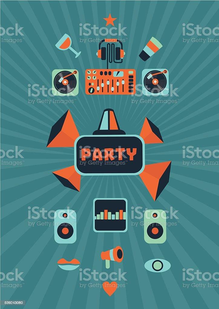 Música para fiesta cartel Vintage un club nocturno. ilustración de música para fiesta cartel vintage un club nocturno y más banco de imágenes de acontecimiento libre de derechos