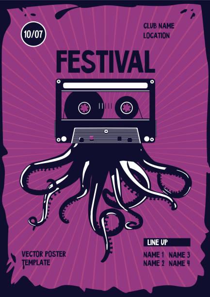 bildbanksillustrationer, clip art samt tecknat material och ikoner med vintage musik affisch. bläckfisk tentakler och ljudkassett. nattfest retro bakgrund. dansfestival mall. - hip hop poster