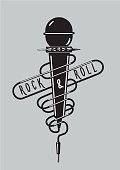Vintage music poster with a microphone. Rock sign