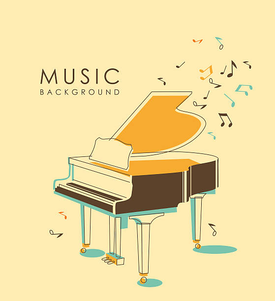 vintage musical background - piano stock illustrations