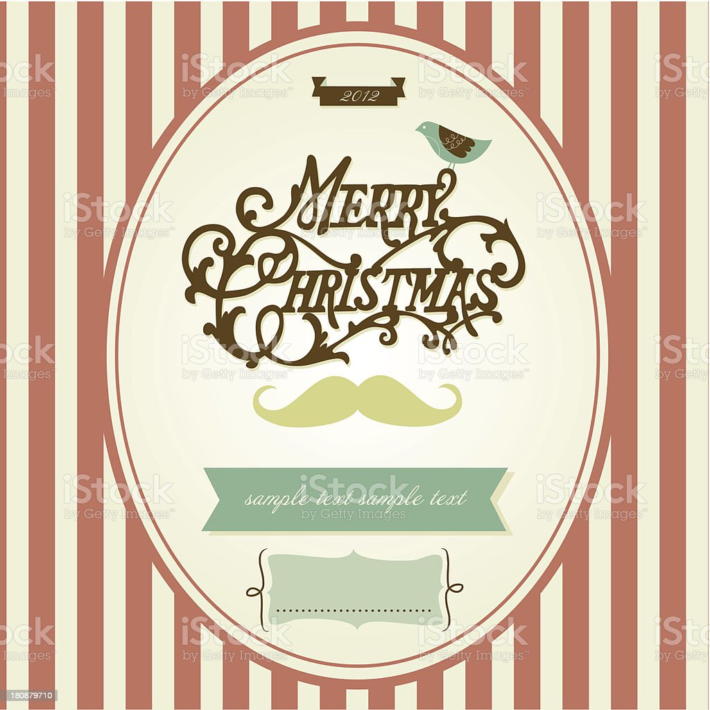 Vintage Mustache Christmas template royalty-free stock vector art