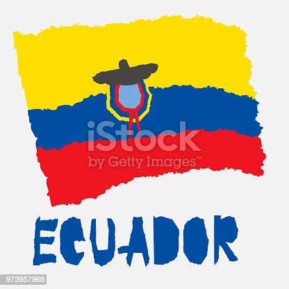 Vintage National Flag Of Ecuador In Torn Paper Grunge Texture Style