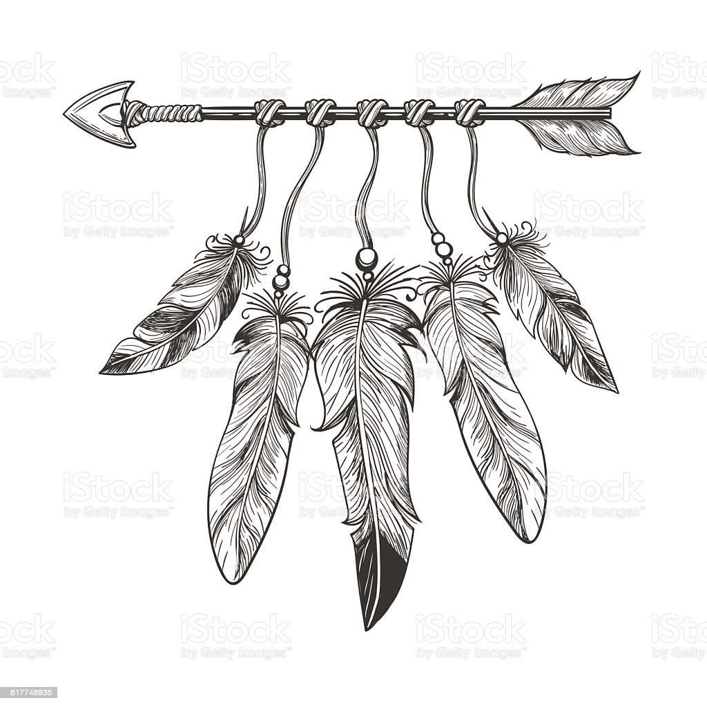 Vintage nativity arrow with feathers vector art illustration