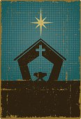 Vintage Nativity with Copy Space