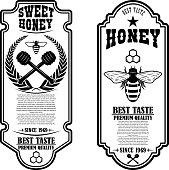Vintage natural honey flyer templates. Design elements for label, sign, badge. Vector illustration