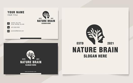 Vintage nature brain logo template monogram style