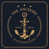 Vintage nautical anchor and tied rope label on dark striped background