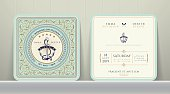 Vintage Nautical Anchors Wedding Invitation Card in Classic Style on Wood Background