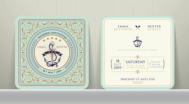 Vintage Nautical Anchors Wedding Invitation Card in Classic Style vector art illustration