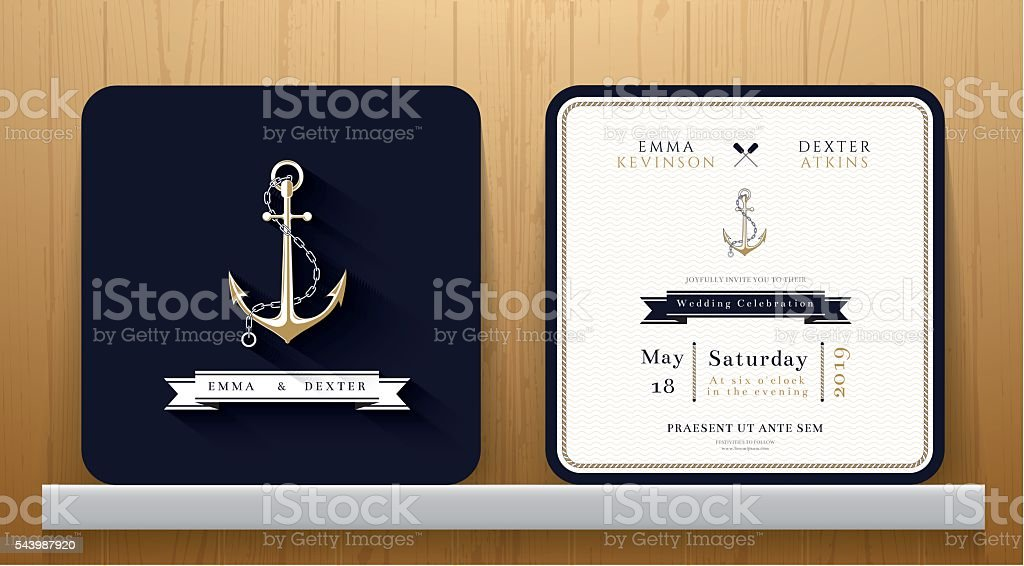 Vintage Nautical Anchors Wedding Invitation Card In Navy Blue Theme ...