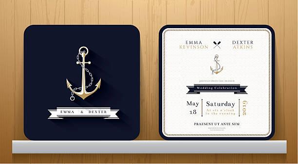 klassisch maritime anchors hochzeit einladung karte in navy-blau - wasserfahrzeug stock-grafiken, -clipart, -cartoons und -symbole