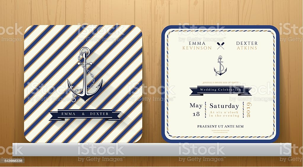 Vintage Nautical Anchors Wedding Invitation Card with Blue Striped vector art illustration