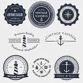Set of vintage nautical badger and labels. Vector logo