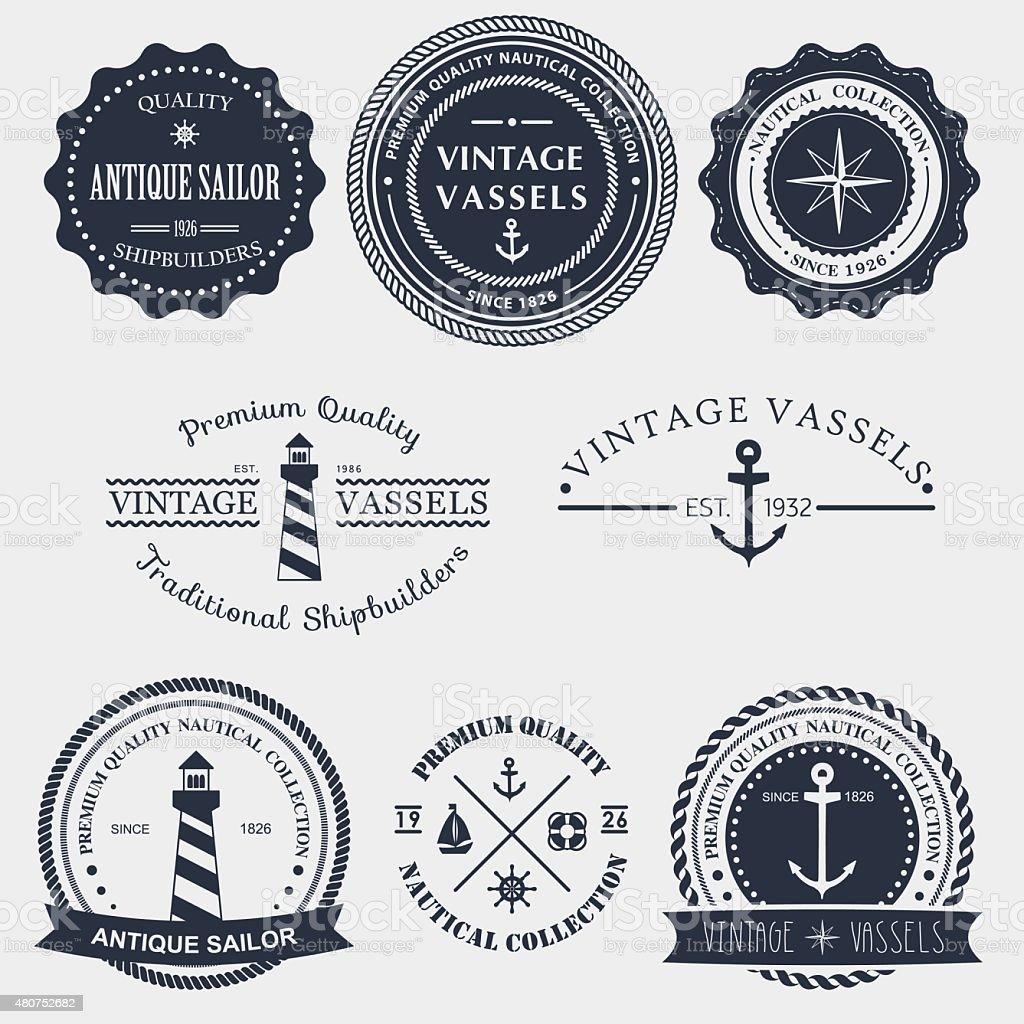 Vintage nautical badger and labels vector art illustration