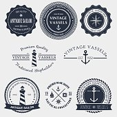 Vintage nautical badger and labels