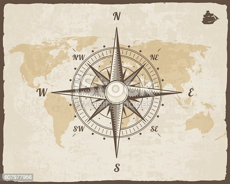 Ilustracin de vintage nautical compass old world map on vector ilustracin de vintage nautical compass old world map on vector paper texture y ms banco de imgenes de anticuado 607977956 istock gumiabroncs Choice Image
