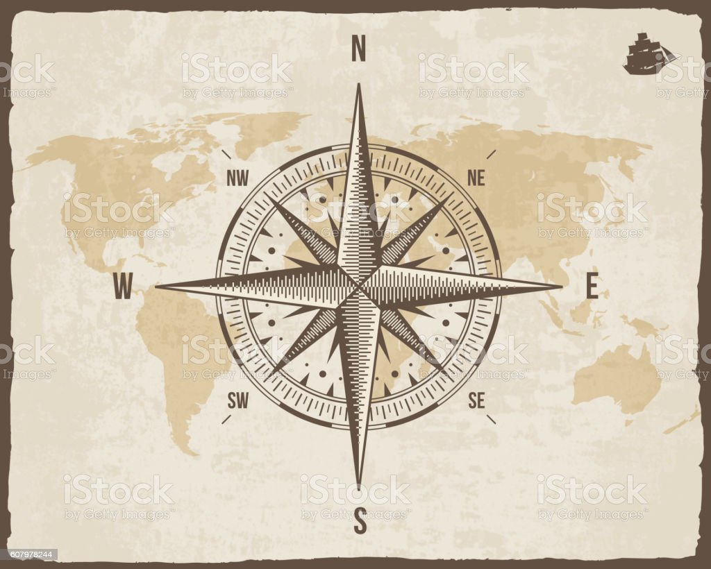 Vintage Nautical Compass Old World Map On Vector Paper Texture Stock  Illustration - Download Image Now