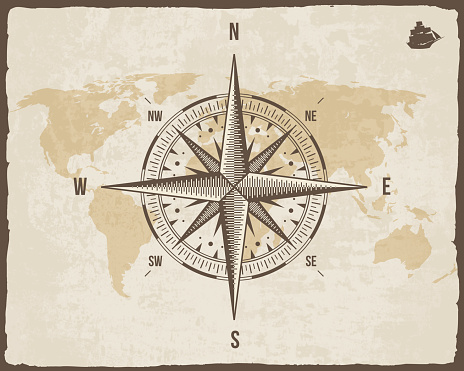 Vintage Nautical Compass Old World Map On Vector Paper Texture Stock ...
