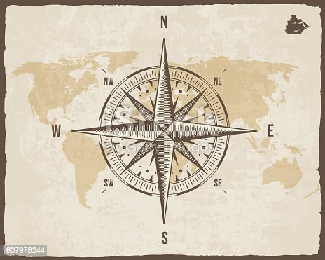 Ilustracin de vintage nautical compass old world map on vector ilustracin de vintage nautical compass old world map on vector paper texture y ms banco de imgenes de anticuado 607978244 istock gumiabroncs Choice Image