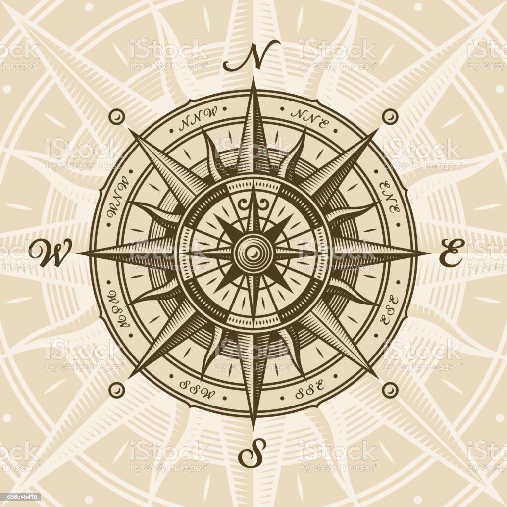 Vintage nautical compass rose - Vetor de Antigo royalty-free