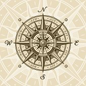 Vintage nautical compass rose in woodcut style. Vector illustration with clipping mask.