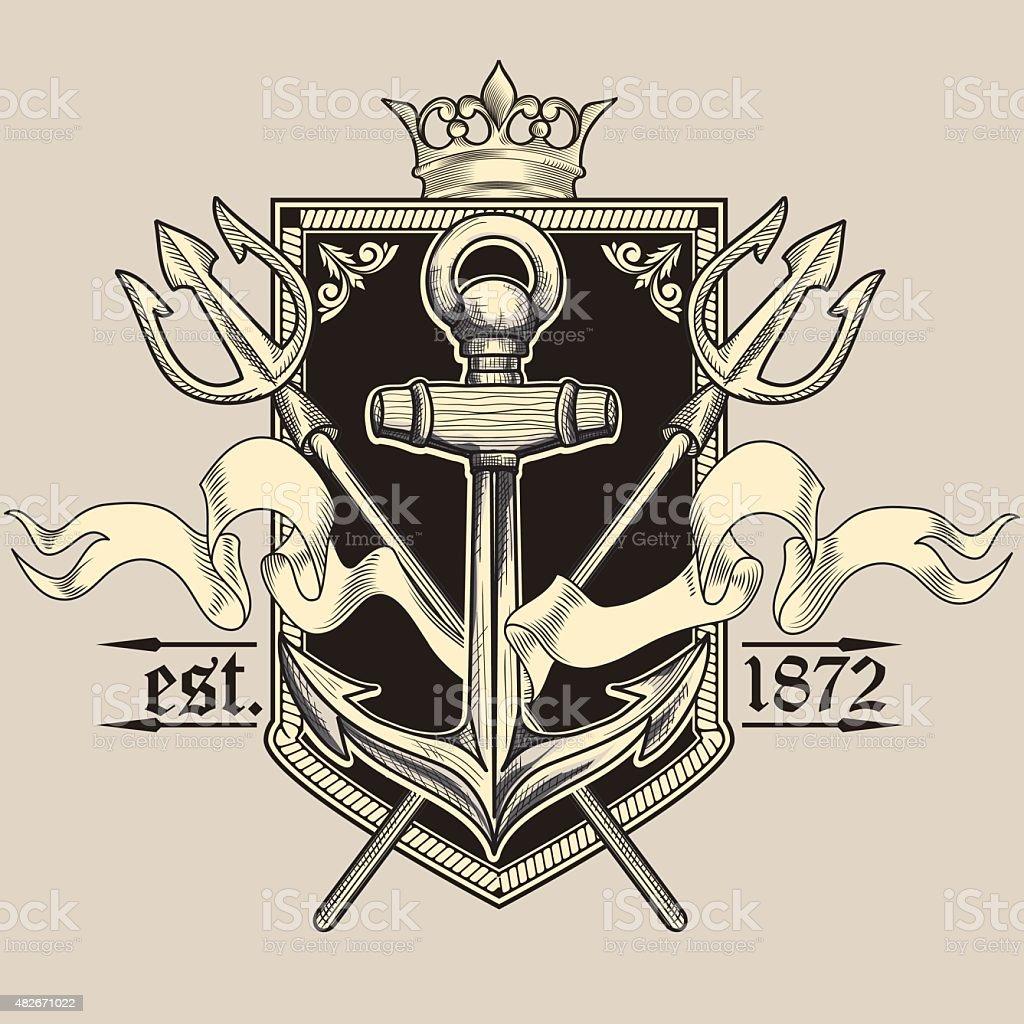 Vintage nautical emblem vector art illustration